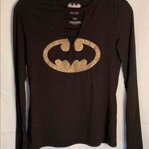 Batman ladies gold glitter cutout long sleeve